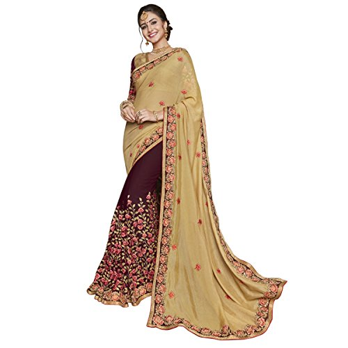 Triveni Brocade Beige Festival Wear Embroidered Traditional Sarees