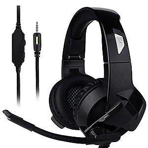 Qingta Gaming-Headset, 3,5 mm Klinkenstecker, Stereo-Bass, Surround-Geräuschisolierung, Gaming-Kopfhörer mit Mikrofon und Steuerung für PS4, Xbox One, Nintendo Switch 0001
