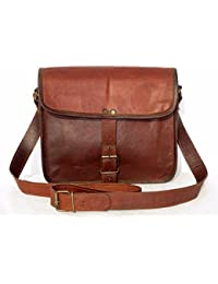 College Messenger Cross Body Half Flap Satchel Shoulder Leather Travel Bag 11""