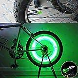 StickersLab - 2 Tappi Copri Valvola Ruota LED Verde con Batterie UNIVERSALE Bici Auto Moto