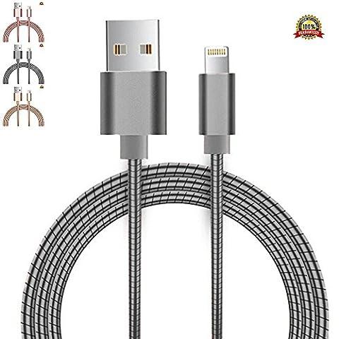 réversible Lightning vers câble micro USB [Doré], 1m/1m [tous] en métal, 2en 1iPhone et Samsung One Plug Printemps Cordon chargement rapide et de synchronisation des données pour Apple iPhone 7/7Plus, 6s/6S Plus, 6/6Plus, 5/5S/5C/SE, iPad Air 2, Samsung S7Edge/S6Edge, S7/S6/S5Cordon solide durable