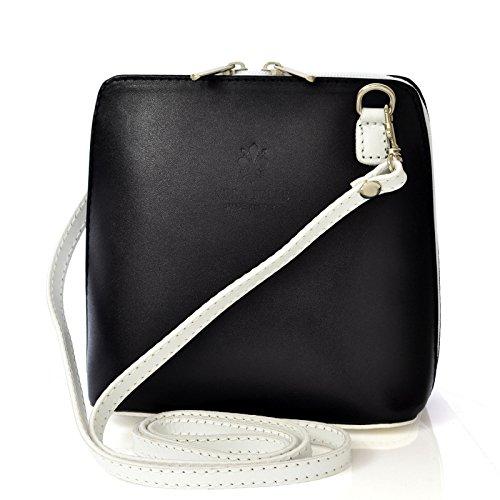 9c7573527b878 Vera Pelle Handtaschen Italien Echt Leder Schultertasche Frauen Damen Tasche  Handtasche Ital Bag Schwarz Weiße