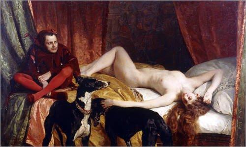 Holzbild 130 x 80 cm: Der Hofnarr (Le Bouffon). 1878 von Edouard-Théophile Blanchard / (Hofnarr Kostüm Hund)