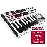 AKAI Professional MPK Mini MKII LE White - Clavier Maître MIDI/USB 25 Touches Sensibles à la Vélocité, 8 Pads, 8 Potentiomètres et Joystick, 4 Voies + Pack de Logiciels Inclus - Édition Limitée Blanc