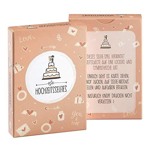 Hochzeitsselfies als Hochzeitsspiel - Box mit kreativen und Lustigen Fotoaufgaben - Tolles Spiel für Gäste Oder Geschenkidee für Das Brautpaar - Eisbrecher für die Hochzeit