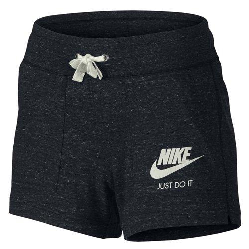 Sportliche Kordelzug Trainingshose (Nike Damen Gym Vintage Shorts, Schwarz (Black/Sail), XS)