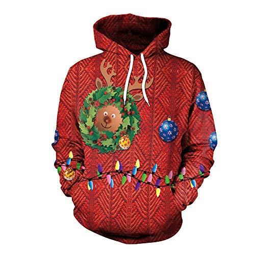 Erwachsenen Hirsch Kostüm Hoodie Für - RFVBNM Weihnachtsurlaub Kostüm Damen Sweatshirt Weihnachts-Hirsch-Lampe Motiv Erwachsene lose Fit Kapuzen Design Sweatshirt, XXL