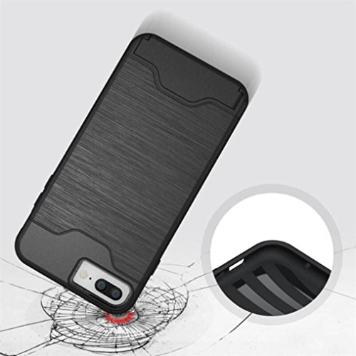 Ouneed® Für iPhone 8 plus 5.5 Zoll Hülle , stoßfest Wallet Case Protective Hard Cover Skin Card Holder Stand für iPhone 8 plus 5.5 Zoll (Schwarz) Grau