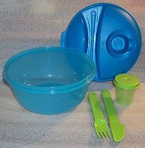 Tupperware Bote salade-Go Kit déjeuner, bol, couverts et contenant à vinaigrette, Bleu