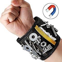Idea Regalo - MYCARBON Bracciale Magnetico fai da te Wristband Magnetico 10 Magneti Forti Fascia da Polso Porta Utensili da Lavoro(Nero)