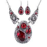 Yazilind Klassiker tibetische Sliver Roten Kristall Geprägte Lätzchen Halsband Ohrringe Halskette Schmuck-Set
