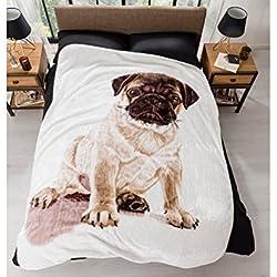 Manta beddings Pug impresión sintética visón manta super suave cómodo perfecto para noches frías