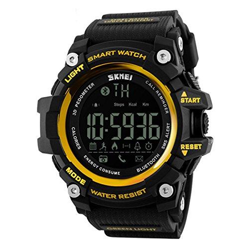Herren Sport digitaluhr,Bluetooth Bewegung Wasserdicht E Intelligente Step counter Erinnern Digital] Multifunktions uhren-D