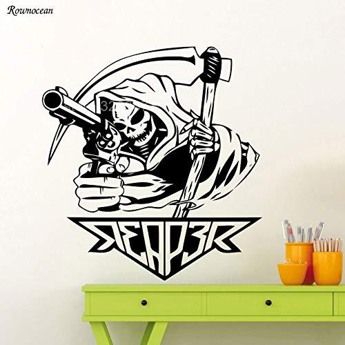 guijiumai Cooles Design Sensenmann Mit Pistole Wandtattoo Death Reaper Vinyl Aufkleber Kunst Wohnkultur Abnehmbare Selbstklebende Poster Wandbild weiß L 57x60 cm - Chanel Gepäck