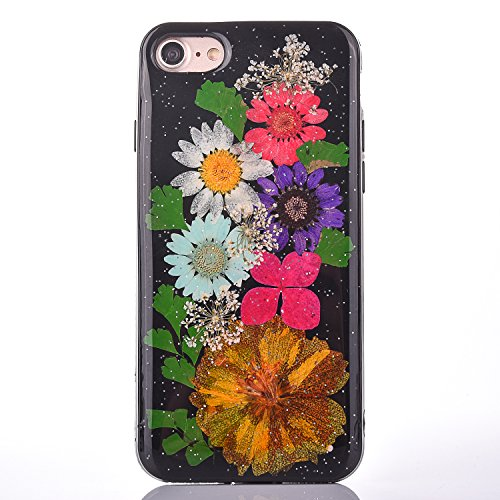 "iPhone 7 Handyhülle, CLTPY iPhone 7 Transparent Klare 3D Motiv Fall, [Ultra Hybrid] Echte Getrocknete Blumen Series Etui, Dünne Stoßfest Gummi Case für 4.7"" Apple iPhone 7 + 1 Stylus - Floral 17 Floral 5"