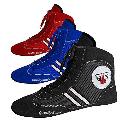 """FOX-FIGHT SAMBO Schuhe """"Quality Suede"""" Leder Ringer- Wrestling Schuhe Mattenschuhe (rot - 44)"""