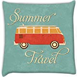 Snoogg Summer Travel Wagon Digitally Printed Cushion Cover Pillow 16 x 16 Inch