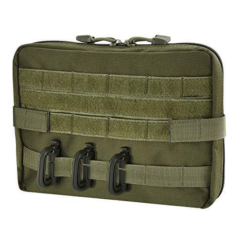 Irich Wasserabweisende Waist Bag mit Reißverschluss und D Karabiner, Multifunktional Utility Pouch für Wandern Camping Reisen Outdoor (Militärische Farbe) -