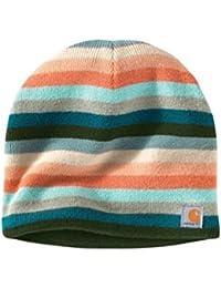 Carhartt Striped Knit Beanie - Teal Blue Womens Warm Winter Ski Hat CHWA002448