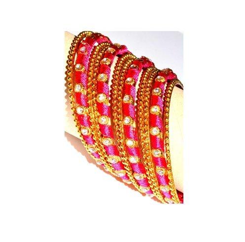 Bollywood Indian Silk Thread Metal Bengles - Pink,Indian ,indische,Armband,Armreifen,brecelet, Handschmuck , Chudi,Bollywood,Goa