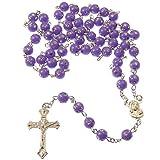 Plastique violet ronde chapelet collier de perles d'argent tacheté détail longueur 53cm