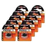 ANSMANN 10x CR2032 Batterie Lithium Knopfzelle 3V / Qualitativ Hochwertige Knopfbatterien/Ideal für Autoschlüssel, Tan-Gerät, Taschenrechner, Kinderspielzeug, Fernbedienung, Uhren, Etc.