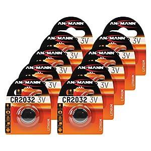 ANSMANN 10x CR2032 Batterie Lithium Knopfzelle 3V / Qualitativ hochwertige Knopfbatterien / Ideal für Autoschlüssel, TAN-Gerät, Taschenrechner, Kinderspielzeug, Fernbedienung, Uhren, etc.