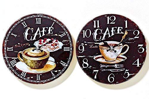 Tamia-Home Wanduhr Coffee Glasuhr Wanddekoration Uhr Bilderuhr Glasbilder D17cm (Cafe)