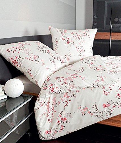 Janine Mako Satin Bettwäsche 155 x 200 cm Satin Bettbezug weiß Palermo Bettwäsche weiß aus Baumwolle