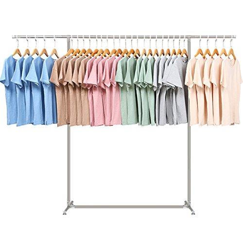 Acciaio inox abbigliamento indumento rack,a pavimento multifuctional hanger,capacità massima 150 libbre pesanti abbigliamento rack estensibile & pieghevole-b 240*120*150cm(94.5*47.2*59inch)
