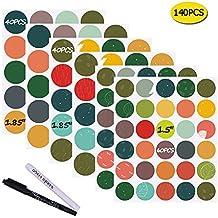 Nardo visgo® Colored Etichette Lavagna Adesivi rotondi: 140Premium + 2gesso markers-waterproof rimovibile adesivi lavagna, riutilizzabili, (4 Round Etichette)