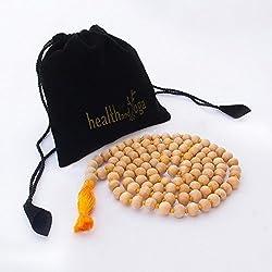 BUDDHAFIGUREN/Billy Held–Mala (rosario–grado superior Tulsi madera, Albaricoque, 1