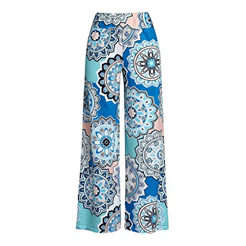 Lazzboy Damen Casual Loose Printed Stretchy Wide Leg Lounge Long Pants Damen-Hose-Schlupfhose-kofferhose-Stretchbund(Blau,XL) -