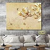 XIANRENGE Nordic Leinwand Print Poster Bild Moderne Abstrakte Schmetterling Gelbe Blume Landschaftsmalerei Wohnzimmer Wohnkultur 40×60Cm