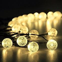 YIMIA Wasserdicht 30er LED Solar Lichterkette, 8 Leuchtmodi tragbare 6 Meter Außenlichterkette Garten Solar Led Beleuchtung Warmweiß/bunt Kugel für Party, Weihnachten, Garten, Balkon usw. (Warmweiß Kugel)
