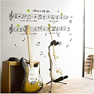 LETAMG Wall Sticker 1Set Large Size 70 * 120Cm Music Sticker Music Is My Life Theme Music Bedroom Decor & Dancing Music Note Removable Wall Sticker