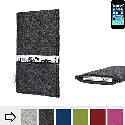 flat.design Filztasche SKYLINE mit Webband Wien für Apple iPhone 5s - Maßanfertigung der Filz schutzhülle aus 100% Wollfilz (hellgrau) - Case Hülle im Slim fit Design für Apple iPhone 5s anthrazit