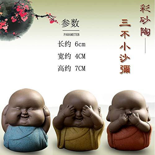 Fashion158 3-teiliges Set Keramik niedliche DREI Nicht kleine Mönche können die Charaktere erhöhen, lila Sand Kleiner Tee Haustier Zen kleine kleine kleine Sandtöpfe kleine Ornamente