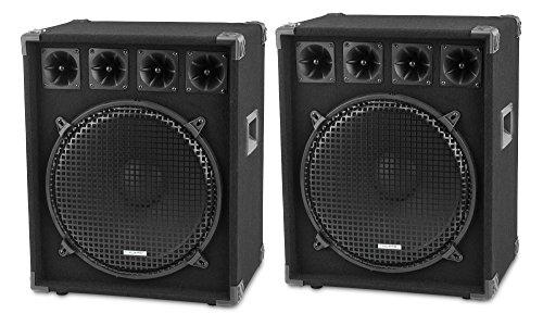 "Paar McGrey DJ-1522 DJ PA Lautsprecher Box 38cm (15"") Subwoofer 1600W (Passiv, 2-Wege System, Holzgehäuse, 35mm Flansch)"