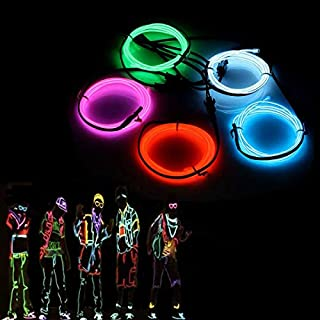 El Wires,AUDEW 5x1M Neon Lights Glowing Strobing Dance Party Costume Decor Light Flexible EL Rope Neon Sign Waterproof LED Strip With Controller Indoor/Outdoor Decorations