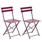 Hespéride Le Depot BAILLEUL - Lot de 2 chaises Bistro Camargue Framboise