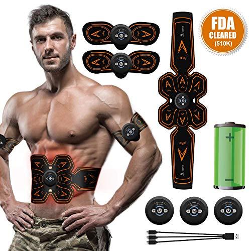 A-TION Cintura Elettrostimolatore Addominali Professionale EMS Stimolatore Muscolare Uomo Donna, 6 modalità e 10 Frequenza Corrente Livelli per Massaggio Corpo