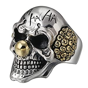 FORFOX Herren Damen Gothic 925 Sterling Silber Totenkopf Clown Ring Verstellbarer Größe 58-64