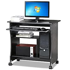 Tinkertonk Black Wood Small Computer Desk Portable Trolley Table 4 Wheels With Sliding Keyboard