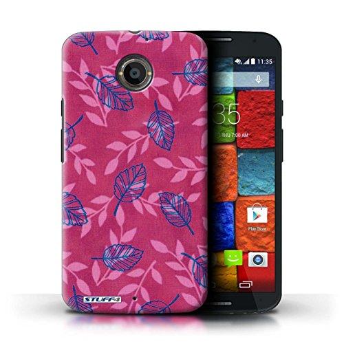 Kobalt® Imprimé Etui / Coque pour Motorola Moto X (2014) / Bleu/Marron conception / Série Motif Feuille/Branche Rose/Bleu