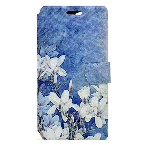 Wiko Pulp Fab 4G Hülle, Chreey Wallet Case Handy Schutzhülle Flip Cover PU Ledertasche Ultradünnes Klapphülle mit Kartenfach und Ständer Handyhülle - Weiße Magnolie Blume