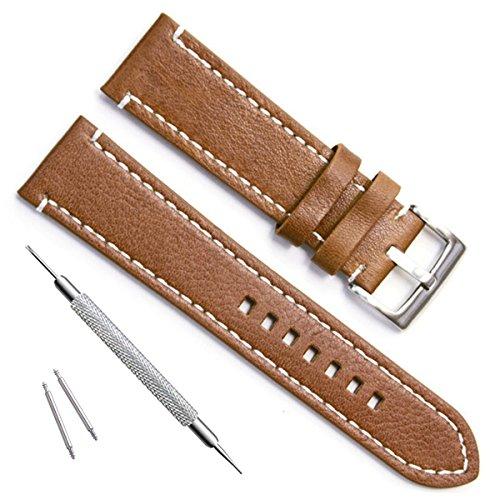 Grün Oliv 22mm Handgefertigt Vintage Rindsleder Leder Uhrenarmband/Armbanduhr Band (Olive Uhrenarmband Leder)