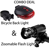 BabyGo Combo of LED-Laser Tail Light, Zoomable Mode Bicycle Headlight, LED-Flashlight Front-Bicycle Light Lamp Mount Torch and Holder Clip-Mount