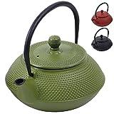 Deuba Teekessel Gusseisen 750 ml Grün Asiatische Teekanne • Japanischer Stil • Edelstahl Siebeinsatz • Praktischer Henkel