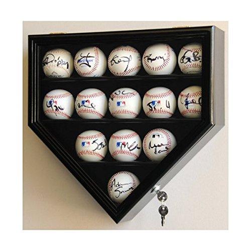 14Baseball Display Case Kabinett Inhaber Wand Rack Home Teller Geformt W/UV-schützt Abschließbar-Schwarz